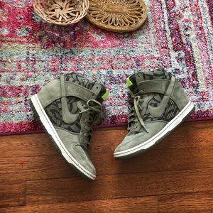 Nike green suede wedge heel tennis shoes